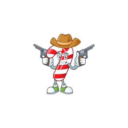 Christmas candy cane cartoon character as a Cowboy holding guns. Vector illustration