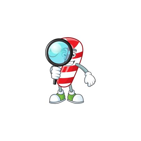 One eye christmas candy cane Detective cartoon character style Banco de Imagens - 134946871
