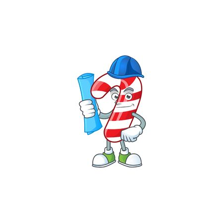 Cheerful Architect christmas candy cane cartoon style holding blue prints. Vector illustration
