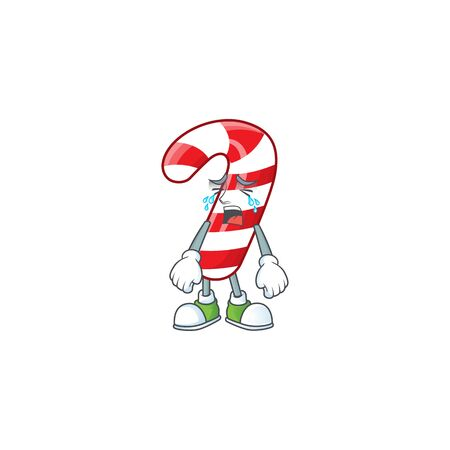 Sad Crying christmas candy cane cartoon character design style. Vector illustration