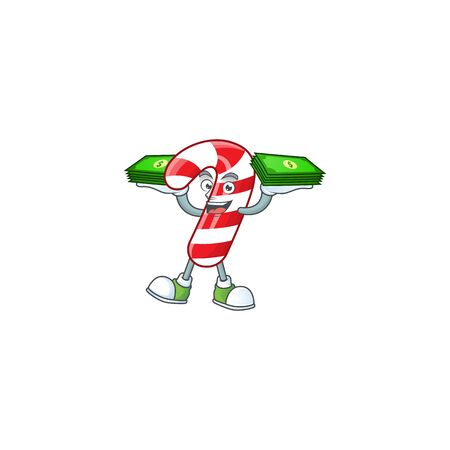 Confident smiley christmas candy cane character with money on hand Ilustração
