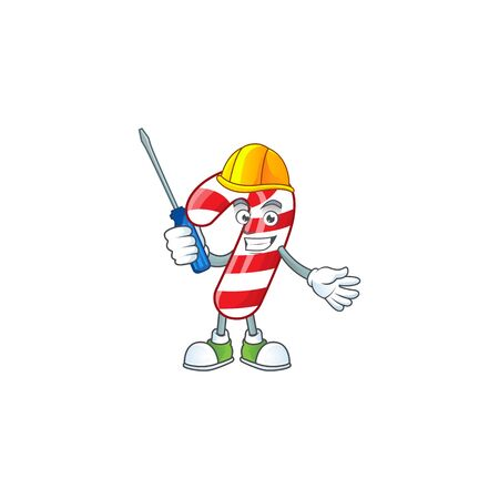 Cool automotive christmas candy cane presented in cartoon character style. Vector illustration