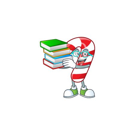 Student with book christmas candy cane mascot cartoon character style. Vector illustration Ilustração