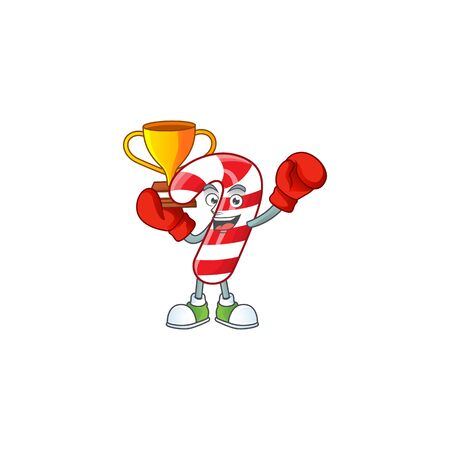 Super cool Boxing winner christmas candy cane in mascot cartoon style. Vector illustration Banco de Imagens - 134945858
