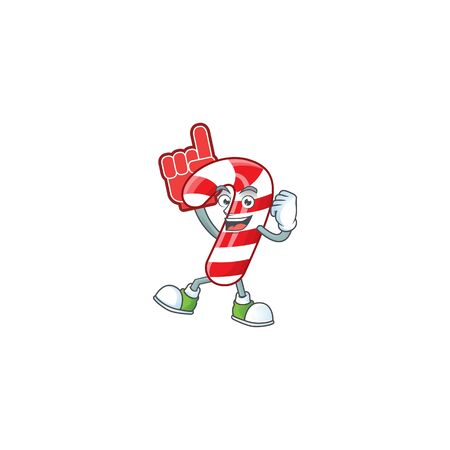 Foam finger christmas candy cane on mascot cartoon style. Vector illustration Banco de Imagens - 134945908