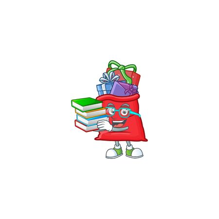 Student with book santa bag full of gift mascot cartoon character style