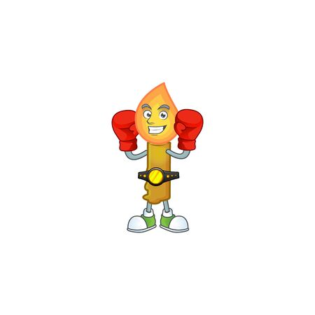 Funny Boxing gold candle cartoon character style. Vector illustration Banco de Imagens - 134946281