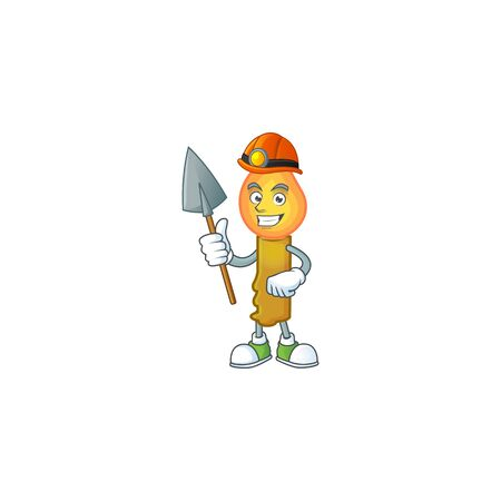 Cool Miner gold candle cartoon mascot design style. Vector illustration