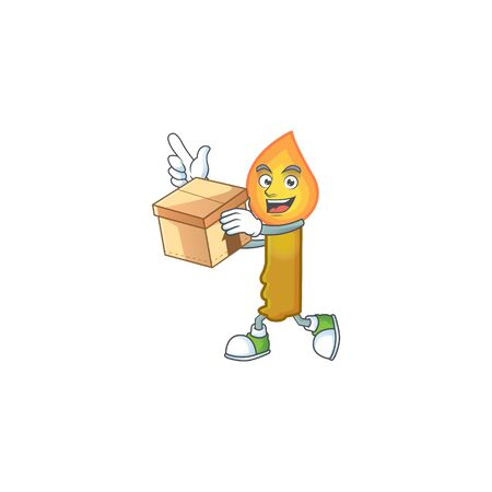 With box Super Funny gold candle cartoon character style. Vector illustration