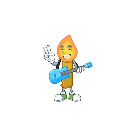 Super cool gold candle cartoon character performance with guitar. Vector illustration