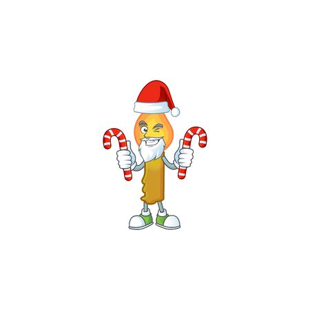 Gold candle Cartoon character in Santa with candy. Vector illustration