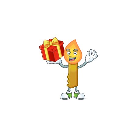 Mascot of gold candle character up a gift. Vector illustration