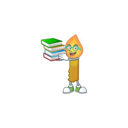 Student with book gold candle mascot cartoon character style. Vector illustration