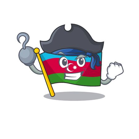 one hand Pirate flag azerbaijan mascot cartoon style