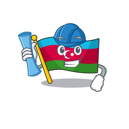 Cheerful Architect flag azerbaijan cartoon style holding blue prints Ilustracja