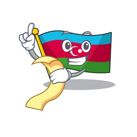 Cute flag azerbaijan cartoon character with menu ready to serve Illustration