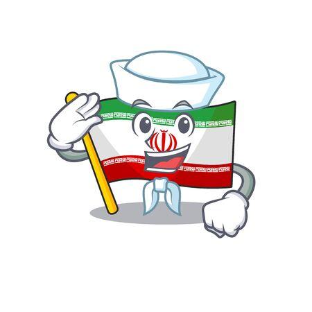 Mascot of Cute flag iran Sailor cartoon character