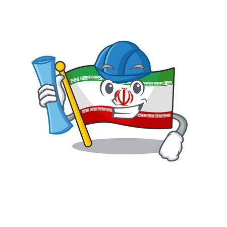 Cheerful Architect flag iran cartoon style holding blue prints