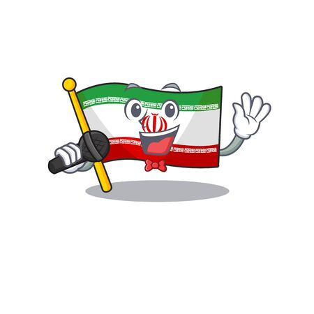 cartoon Singing flag iran while holding a microphone
