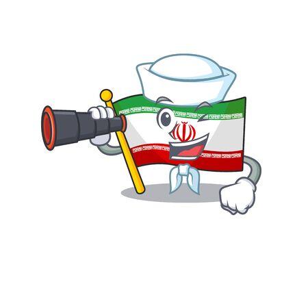 Smiling happy Sailor with binocular flag iran cartoon design