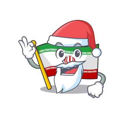 Flag iran in Santa cartoon character design Çizim