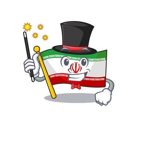 Cartoon character design of flag iran Magician style