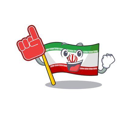 Foam finger flag iran on mascot cartoon style