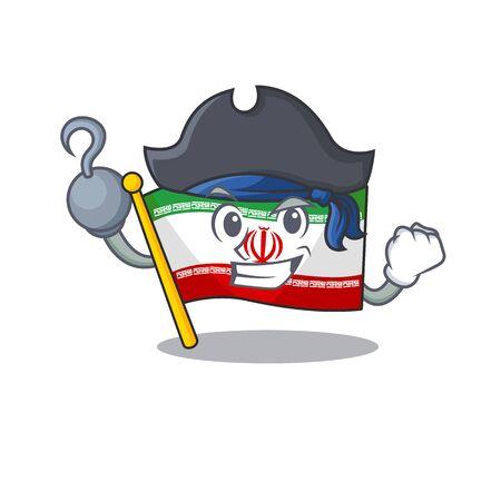 one hand Pirate flag iran mascot cartoon style