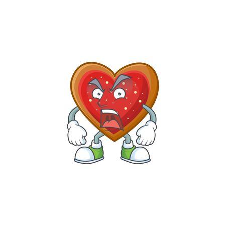 Mascot of angry love cookies cartoon character design. Vector illustration Standard-Bild - 135166951