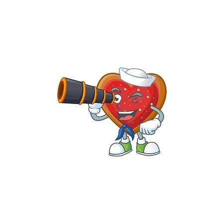 Smiling happy Sailor with binocular love cookies cartoon design. Vector illustration Stock Illustratie