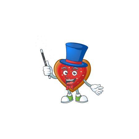 Cartoon character of love cookies Magician style. Vector illustration