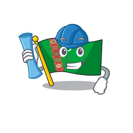 Cheerful Architect flag turkmenistan cartoon style holding blue prints. Vector illustration
