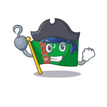 one hand Pirate flag turkmenistan mascot cartoon style Ilustracja