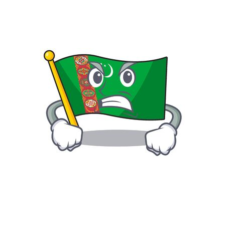 mascot of angry flag turkmenistan cartoon character style. Vector illustration Standard-Bild - 135167032