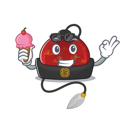 cartoon Mascot featuring traditional chinese hat with ice cream  イラスト・ベクター素材