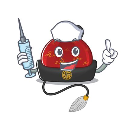 Cute Nurse traditional chinese hat character cartoon style with syringe