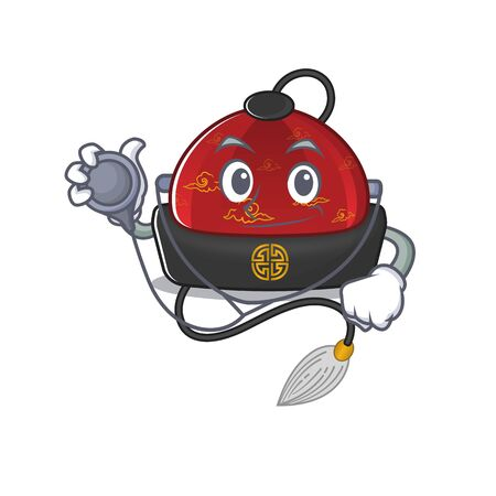 Traditional chinese hat cartoon mascot style in a Doctor costume with tools