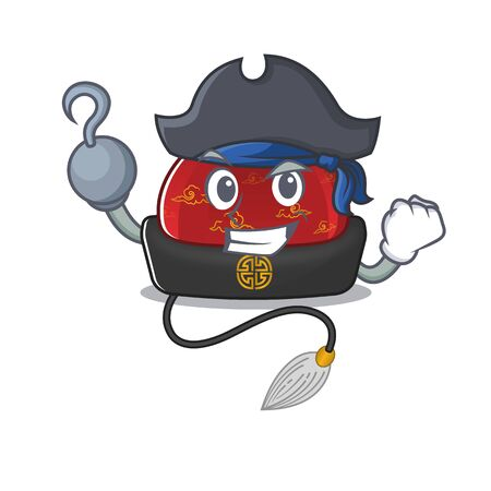 one hand Pirate traditional chinese hat mascot cartoon style