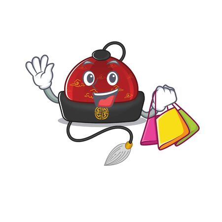 Cheerful traditional chinese hat cartoon character waving and holding Shopping bag. Vector illustration