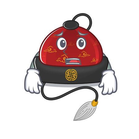 Traditional chinese hat Cartoon character showing afraid look face