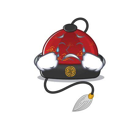 Sad Crying traditional chinese hat mascot cartoon style