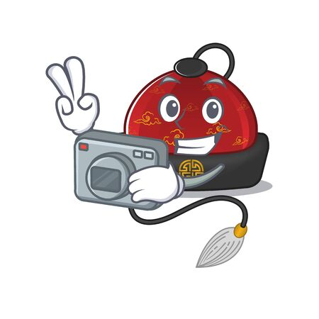 a professional Photographer traditional chinese hat cartoon character with a camera