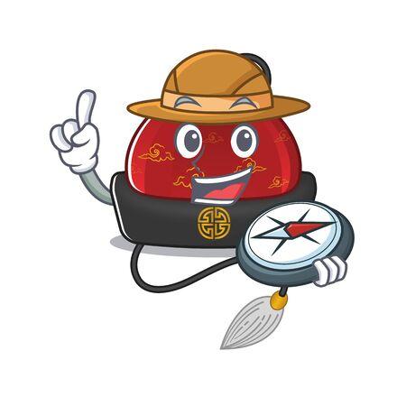 Explorer traditional chinese hat cartoon character holding a compass Ilustração