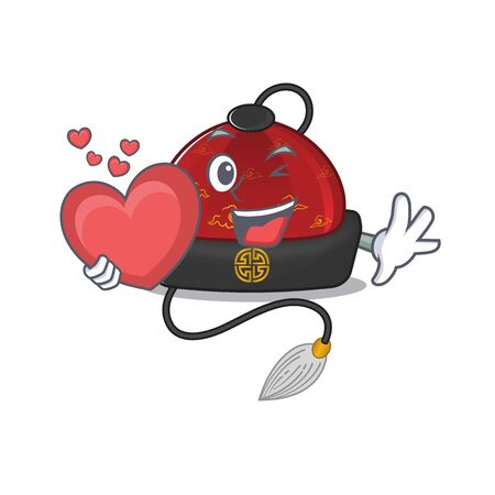 With heart traditional chinese hat cartoon character mascot style