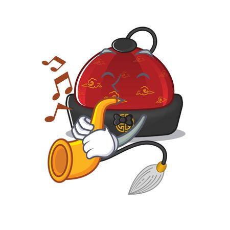 Super cool traditional chinese hat cartoon character performance with trumpet