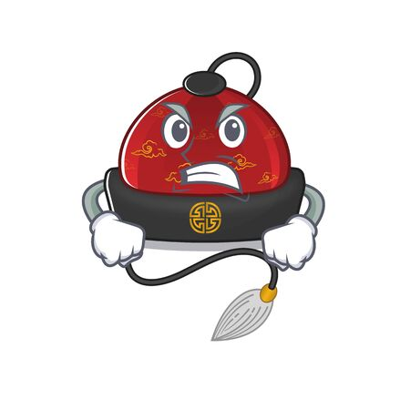 mascot of angry traditional chinese hat cartoon character style