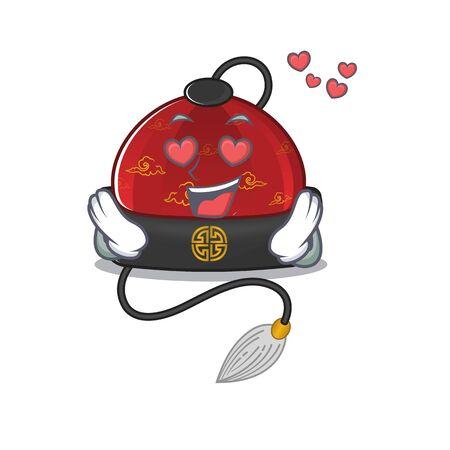 falling In love Happy cute traditional chinese hat cartoon design Ilustração