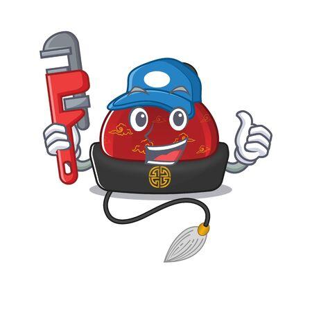 Plumber Traditional chinese hat on cartoon character mascot design Ilustração