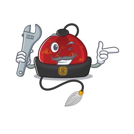 Professional Mechanic traditional chinese hat mascot cartoon character style Ilustração