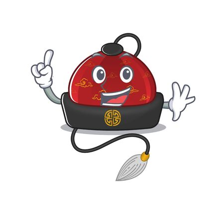 Finger traditional chinese hat in mascot cartoon character style